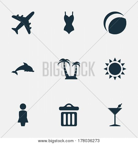 Vector Illustration Set Of Simple Seaside Icons. Elements Garbage, Mammal Fish, Sun And Other Synonyms Palm, Bar And Madame.