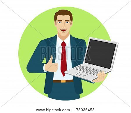 Businessman holding laptop notebook and showing the thumb up. Portrait of businessman in a flat style. Vector illustration.