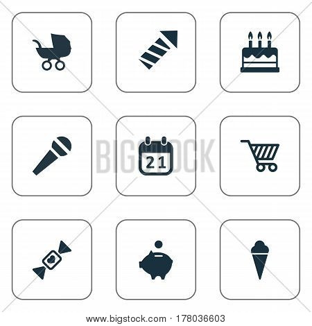 Vector Illustration Set Of Simple Birthday Icons. Elements Sweet Dessert, Cake, Money Pig And Other Synonyms Dessert, Stroller And Pig.