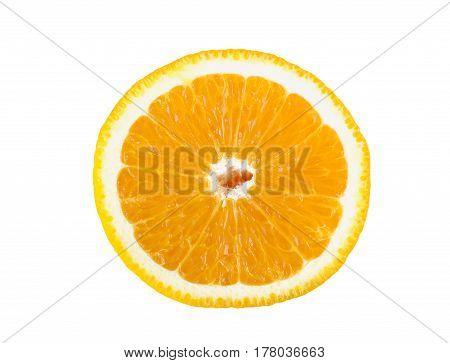 The slice of orange on white background