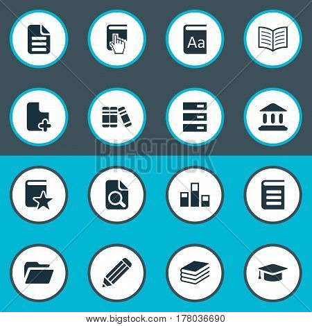 Vector Illustration Set Of Simple Reading Icons. Elements Graduation Hat, Pile, Pen And Other Synonyms Academic, Alphabet And Pointer.