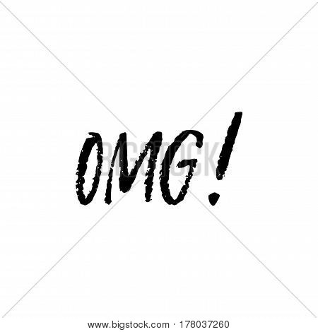 OMG hand ink lettering isolated on white background. Vector illustration