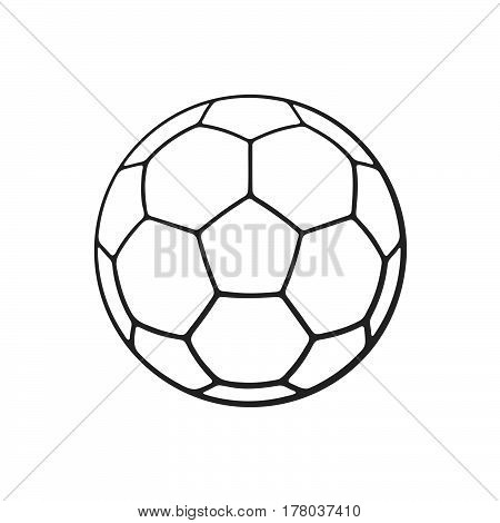 Vector illustration. Hand drawn doodle of leather soccer ball. Sports equipment. Cartoon sketch. Decoration for greeting cards posters emblems wallpapers