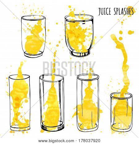 Juice orange and apple splashes in glasses, isolated on white background, hand draw artwork