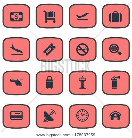 Vector Illustration Set Of Simple Airport Icons. Elements Currency, Takeoff, Flight Control Tower And Other Synonyms Wold, Currency And Smoke.