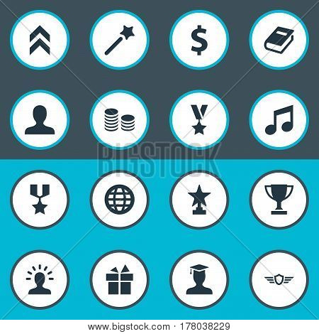 Vector Illustration Set Of Simple Trophy Icons. Elements Currency, Guard, Prize And Other Synonyms Winner, Up And Avatar.