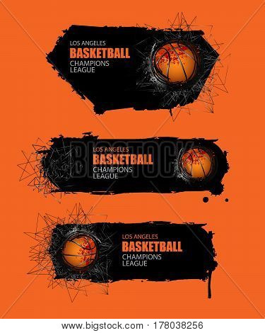 Banner for basketball. Set vector template. Grunge background and geometric objects triangles. EPS file is layered.