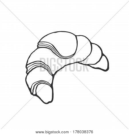 Vector illustration. Hand drawn doodle of traditional French breakfast croissant. Cartoon sketch. Decoration for greeting cards, posters, emblems, wallpapers