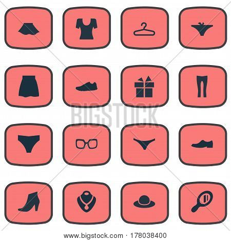 Vector Illustration Set Of Simple Dress Icons. Elements Elegance, Underclothes, Skirt And Other Synonyms Shoes, Rich And Footwear.