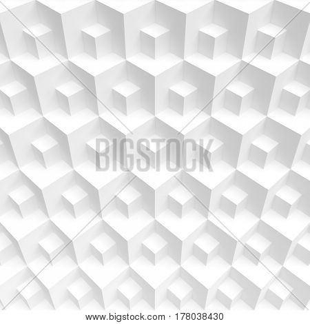 3d Illustration of Abstract Geometric Background. White Cube Wallpaper