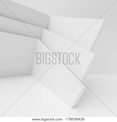 Abstract Architecture Background. 3d Rendering of White Geometric Design