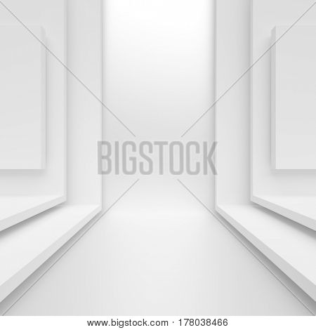 3d Rendering of White Abstract Architecture Design
