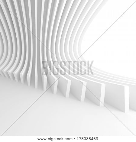 3d Illustration of White Circular Construction. Modern Architecture Background