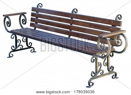 the Park Bench Isolated on White Background