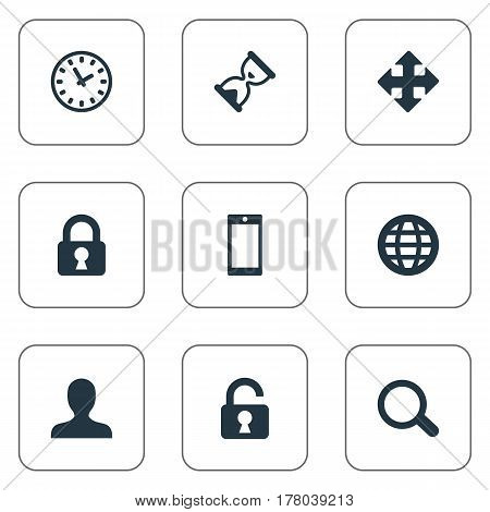 Vector Illustration Set Of Simple Practice Icons. Elements User, Arrows, Web And Other Synonyms Extend, Sphere And Hourglass.