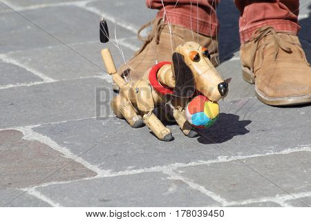 Traditional puppets made of wood. Puppet to form of dog moved by man.