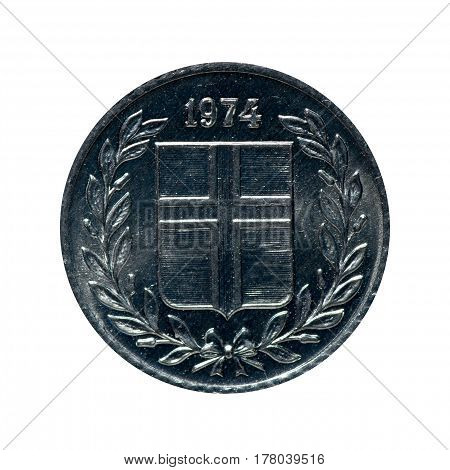 Metal Cointen Eire Iceland.coin Isolated On White Background .obverse Reverse Of The Coin