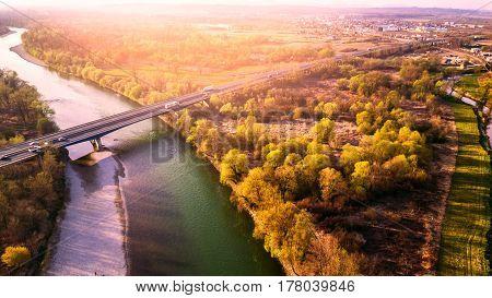 Aerial shot of the bridge over the Sava river in Croatia