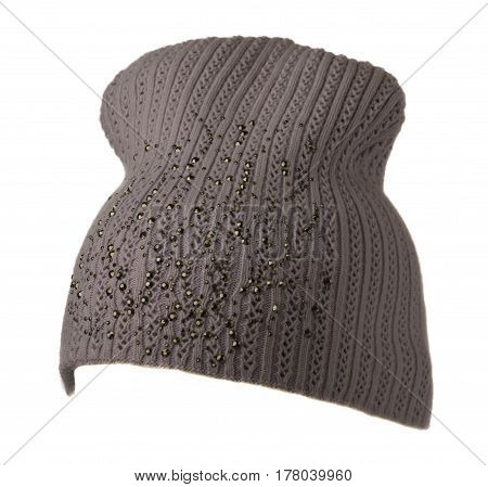 Women's Hat . Knitted Hat Isolated On White Background.purple Hat .