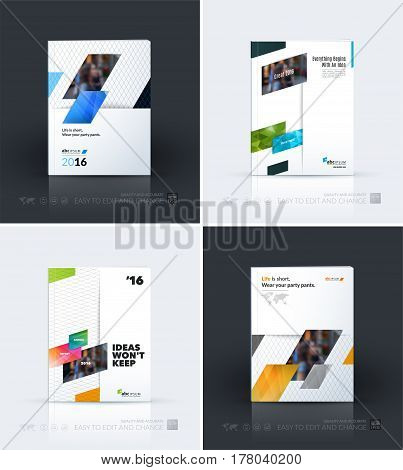Business vector template. Brochure layout, cover modern design annual report, magazine, flyer in A4 with colourful diagonal, rectangular shapes for business with abstract texture background.