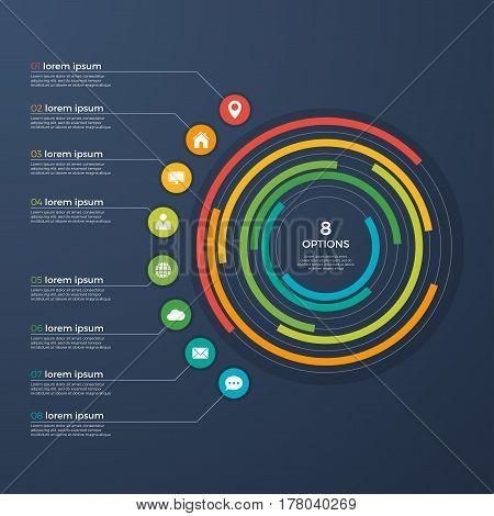 Presentation infographic circle chart 8 options. Vector illustration.