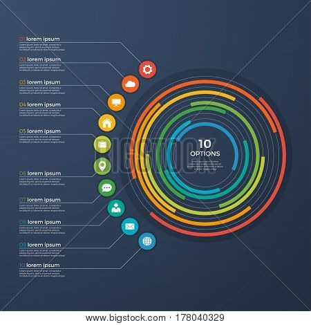 Presentation infographic circle chart 10 options. Vector illustration.