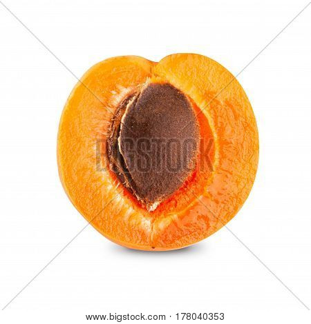 Half of ripe apricot pitted isolated on white background