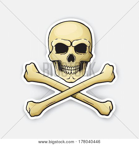 Vector illustration. Skull Jolly Roger with crossbones at the bottom. Sticker in cartoon style with contour.