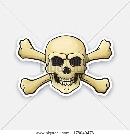 Vector illustration. Skull Jolly Roger with crossbones behind. Sticker in cartoon style with contour.