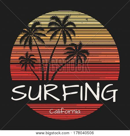Surfing california tee print with palm trees. Vector illustration.