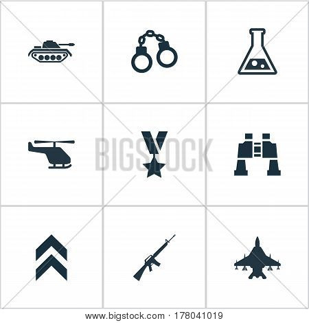 Vector Illustration Set Of Simple Battle Icons. Elements Heavy Weapon, Helicopter, Military Order And Other Synonyms Manacles, Ar15 And Rank.