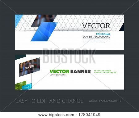 Vector set of modern horizontal website banners with blue diagonal, rectangular shapes for industry, beauty, tech, communication. Clean web headers design with overlay effect.