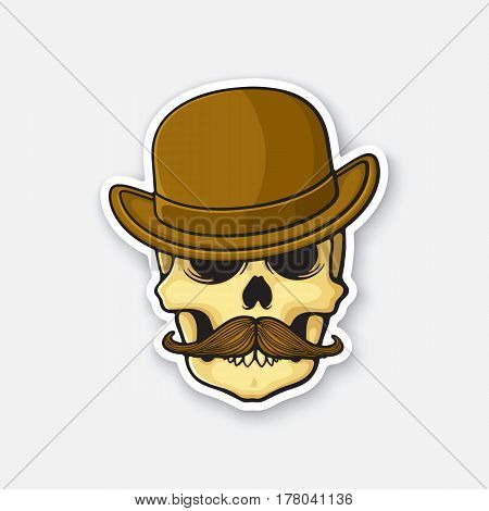 Vector illustration. Skull of a gentleman with a mustache in bowler hat. Sticker in cartoon style with contour.