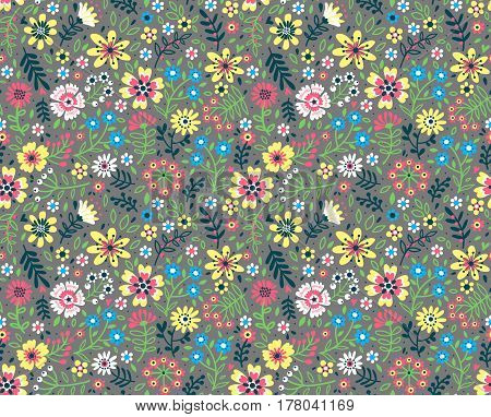 Floral pattern. Pretty flowers on gray backgroung. Printing with Small-scale colorful flowers. Ditsy print. Seamless vector texture. Spring bouquet.