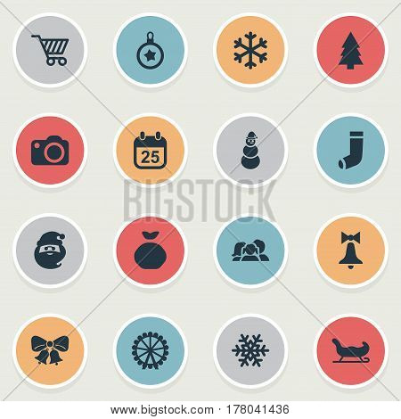 Vector Illustration Set Of Simple Christmas Icons. Elements Tree Toy, Christmas Decoration, Bag And Other Synonyms Bag, Basket And Ice.