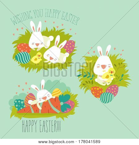 Vector illustration, collection of Easter bunny with colorful egg
