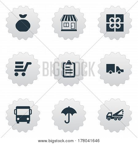 Vector Illustration Set Of Simple Delivery Icons. Elements Autobus, Gingham, Gift And Other Synonyms List, Van And Umbrella.