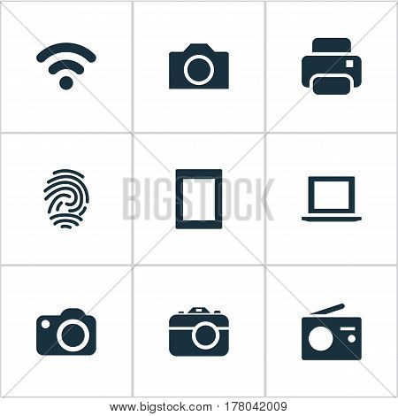 Vector Illustration Set Of Simple Device Icons. Elements Tuner, Photocopier, Camcorder And Other Synonyms Photocopier, Photo And Thumbprint.
