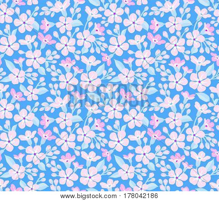 Floral pattern. Pretty flowers on blue backgroung. Printing with Small-scale pink flowers. Ditsy print. Seamless vector texture. Spring bouquet.
