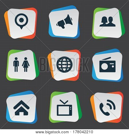 Vector Illustration Set Of Simple Transmission Icons. Elements Telly, World, Partner And Other Synonyms World, Point And Partnership.