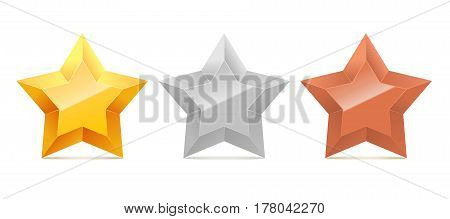 Set of 3D gold, silver and bronze stars isolated on white background. Vector illustration