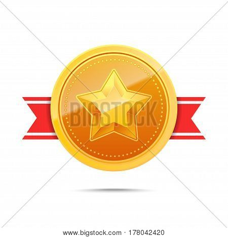 3D Gold medal and red ribbon. Winner award icon. Best choice badge. Vector illustration