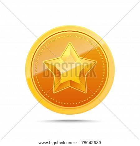 3D Gold medal. Winner award icon. Best choice badge. Vector illustration