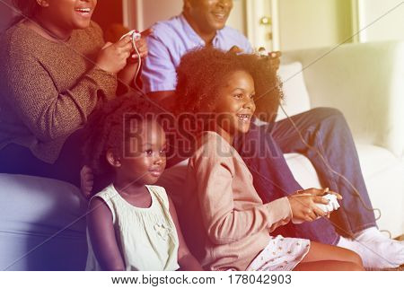 African American Family Play Game Together