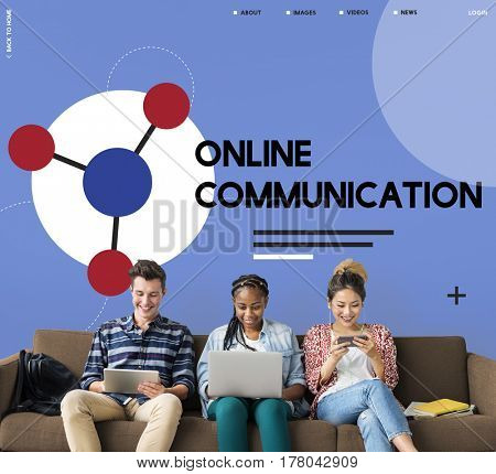 Group of people connected with social network online community