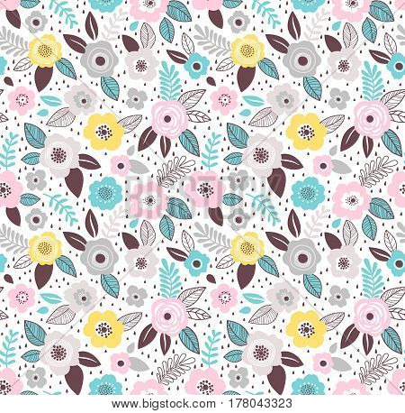 Seamless pattern with flowers for design. Small colorful multicolor flowers. White background. Modern floral background. The elegant the template for fashion prints.