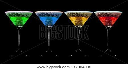 Alcohol Cocktail Is Isolated On A Black