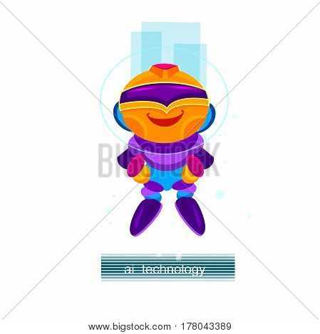 Artificial Intelligence AI , Cartoon robot character. Digital robotic machin. Vector Illustration