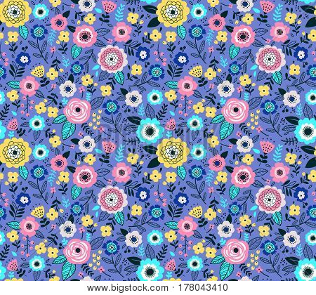 Seamless pattern with flowers for design. Small colorful multicolor flowers. Light violet background. Modern floral background. The elegant the template for fashion prints.