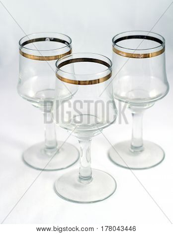 Glasses For Whine, Vodka Or Other Alcohol With Gold Ornament